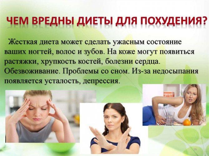 О вреде диет для организма